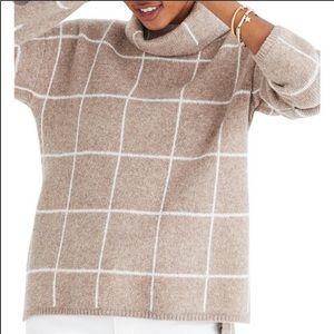 Madewell tan windowpane turtleneck sweater xs